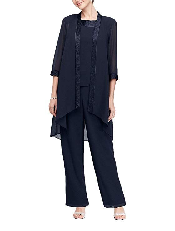 599aa987710 Mother of The Bride Chiffon Pant Set Three Piece Pantsuit with Jacket Plus  Size at Amazon