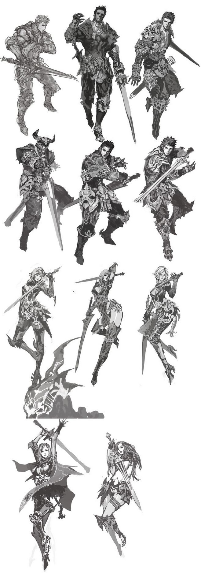 Character designs - drawing reference for holding a sword