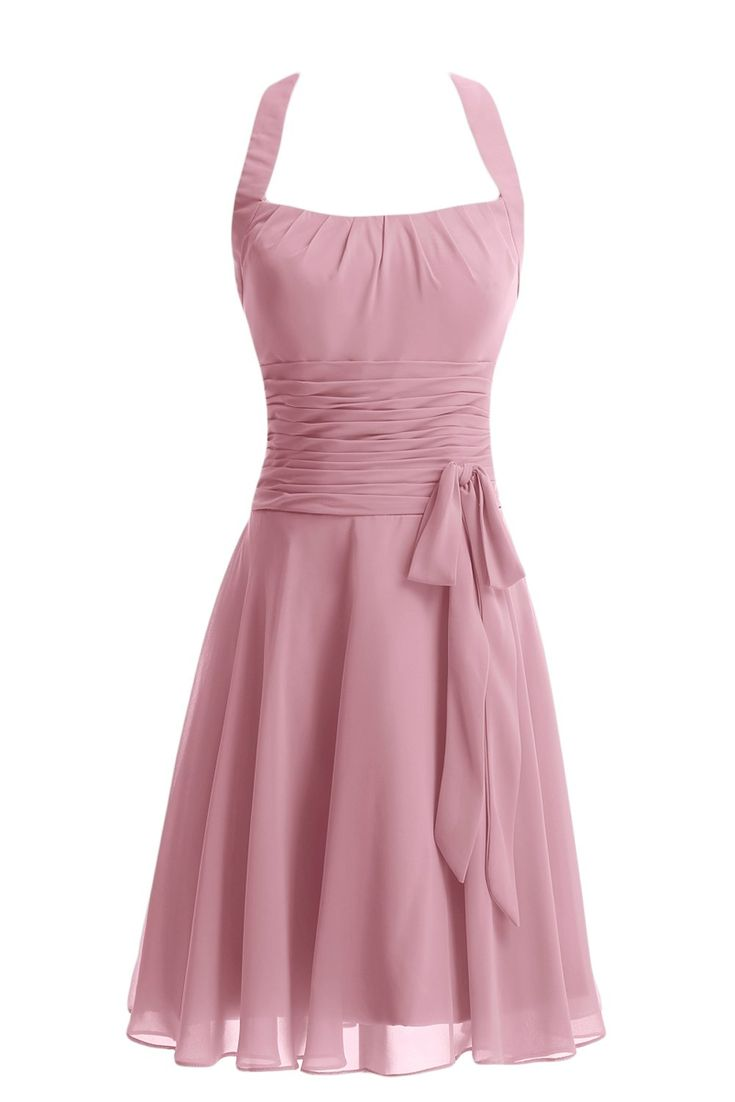 Gorgeous Bride Modern Chiffon Knielang Neckholder Schleife Cocktailkleid Partykleid Abendkleid-38 Rosa