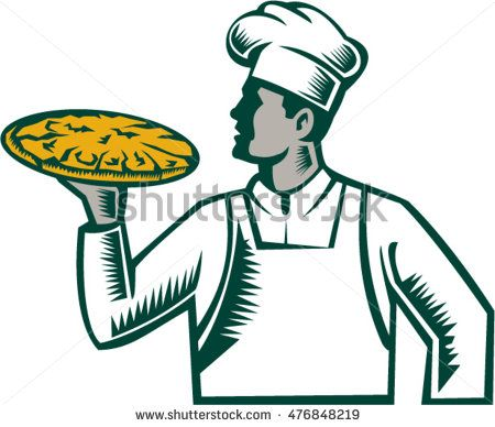 Illustration of a pizza chef baker holding pizza looking to the side set on isolated white background done in retro woodcut style. #pizzamaker #woodcut #illustration