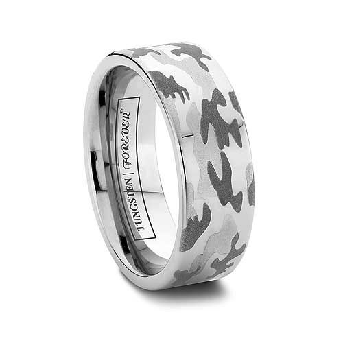 6MM OR 8MM MENS CAMOUFLAGE WEDDING BAND FLAT TUNGSTEN CARBIDE