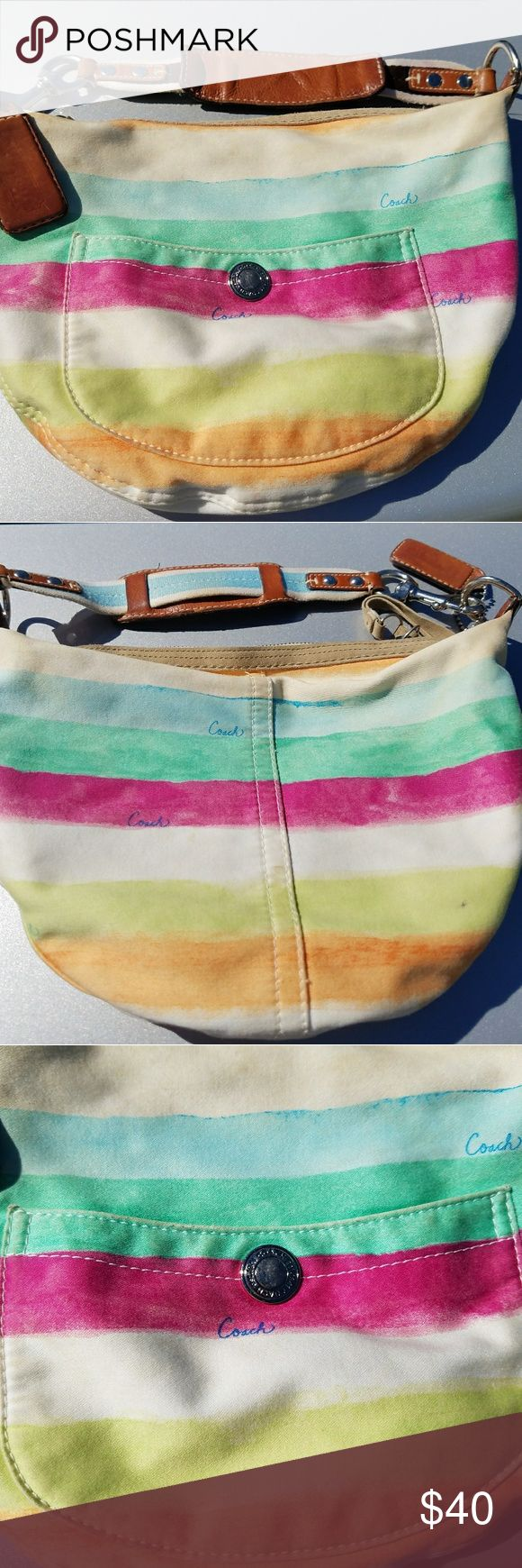 Authentic Coach Rainbow Stripe Hobo Shoulder Bag Authentic Coach Rainbow Stripe Hobo Shoulder Bag *Item Number: (M0673-10021) *Gently Used *Clean Inside Coach Bags Hobos