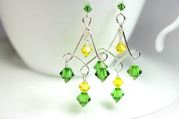 Green Chandelier Earrings Wire Wrapped Jewelry Handmade Sterling Silver Jewelry Handmade Swarovski Crystal Chandelier Earrings Yellow Earrin