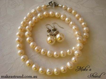 Largy creamy potato pearls are the stars of this elegant long strand In stock: AU$150 (necklace), AU$40 (earrings) + postage (can be sold separately)