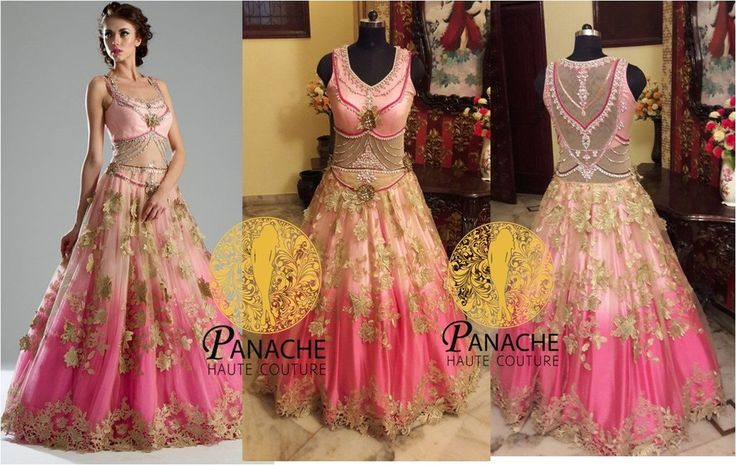 This Indo Western gown is in net and Satin fabric. Upper layer of net is of baby pink color and inner layer is of pure satin double shaded pink color. Yoke part is embellished with silver and pink col