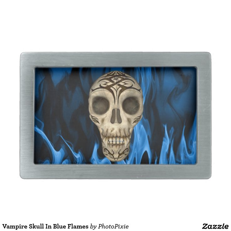 Vampire Skull In Blue Flames