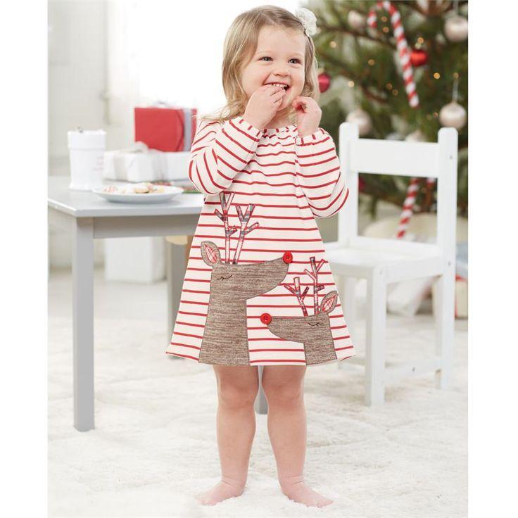 Monogrammed Striped Reindeer  Dress, Little Girl Christmas, Baby Girl christmas, receive by christmas, Mudpie Santa, Rudolf, Christmas Dress by DashForward on Etsy