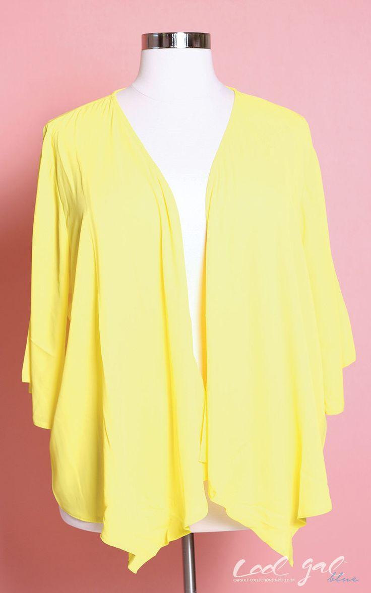 Jessica Kane Yellow Waterfall Cardigan (Sizes 16 - 30) | Products ...