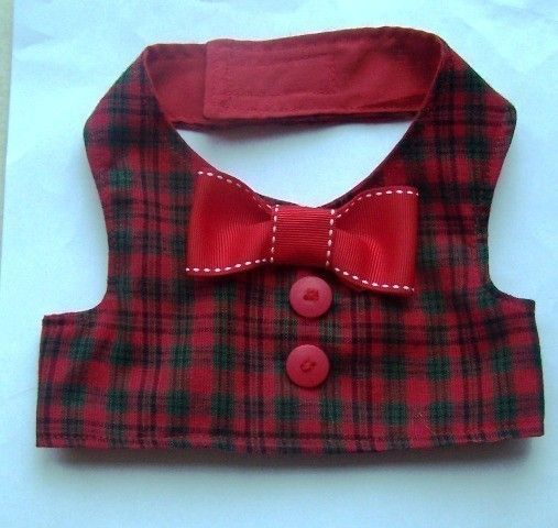 Holiday Dog Vest : Plaid Red And Green Matches Our Jingle Bell Dress. $12.00, via Etsy.