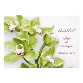green orchid invitations   Green Cymbidium Orchid Wedding Reply RSVP Card Announcements