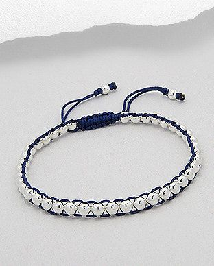 Navy Blue Friendship Bracelet with Sterling by SunshineNShowers, £18.00