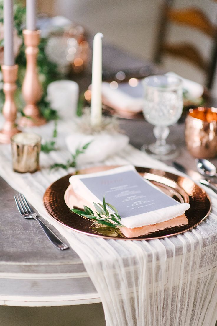 Classic lace and crystal stemware are staples of a vintage wedding, and this wedding is no different. These beautiful rose gold dinning sets bring elegance and sophistication to any vintage or classic themed wedding reception. See more vintage wedding ideas here: http://ruffledblog.com/upstate-new-york-wedding-ideas-with-copper/