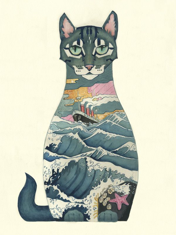 Ships Cat by Daniel Mackie It is beautifully drawn. It shows a contrast of still…