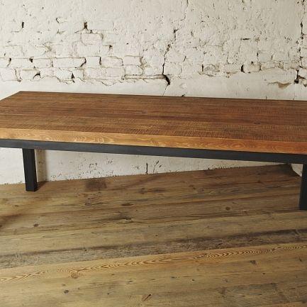 Stół ze starego drewna i metalowych profilów z odzysku – model B – 2