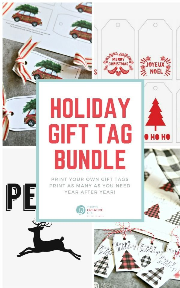 holiday gift tag bundle all time favorite printables pinterest