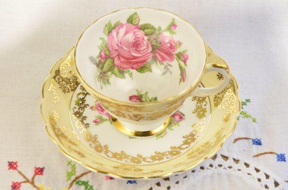 Genuine fine bone china tea cup and saucer/ yellow by VieuxCharmes
