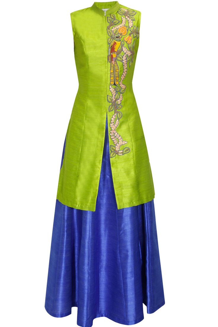 Lime green bird embroidered long achkan jacket with blue skirt lehenga available only at Pernia's Pop Up Shop