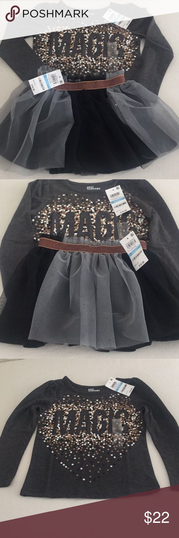 """Epic Threads Girls 2pc tulle skirt set Size 5 NWT Epic Threads from Macy's Little girls two piece outfit Size 5 Together the retail price is $32.00 Brand new Top spells out """"Magic"""" perfect for a Disney vacation Bundle and save if you have twins - I have two size 5 sets Top is t shirt fabric - long sleeves Bottom is gray and black tulle with a bronze shiny waist and ribbon Skirt is fully lined My home is pet and smoke free  BUNDLE and SAVE! Epic Threads Matching Sets"""
