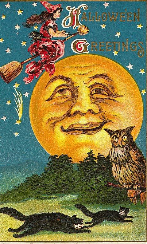 Vintage Halloween Full Moon PostcardVintage Halloween Moon
