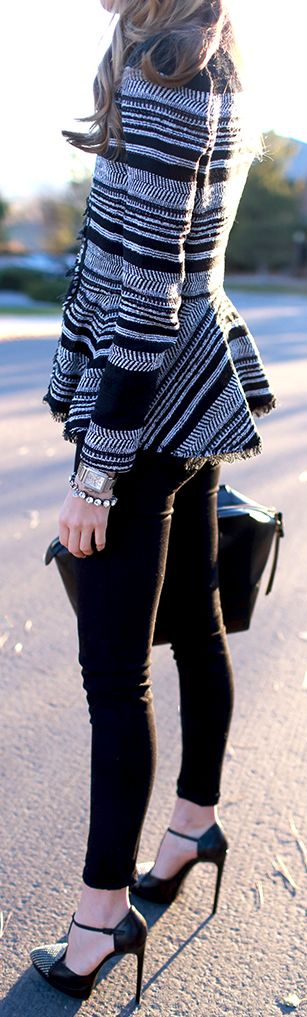 Street style textured peplum striped jacket and heels.