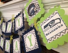 Seattle Seahawks - Happy Birthday Banner - Gray Chevron Navy Card stock with Lime Green accents - Party Pack Available