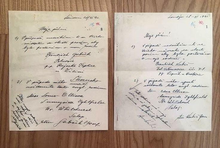 Přání J. Gabčíka a J. Kubiše před výsadkem. (28.12.1941). Oba muži si přejí, aby bylo postaráno o jejich rodiny a v případě úmrtí, aby dali oznámení rodinám v Anglii. #anthropoid #jankubiš #jozefgabčík