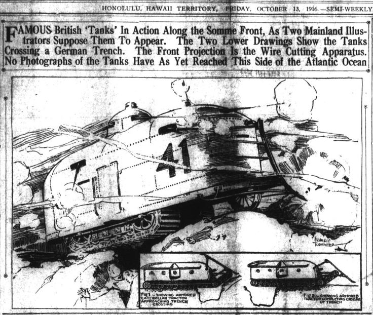 """WWI covered live on Twitter: """"Oct 13 1916 Hawaiian Gazette publishes pictures of what it thinks new British Tanks look like https://t.co/vStzvStTpc #ww1cartoon #Tank100 https://t.co/Cvbzsg5axc"""""""