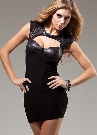 Блестящее черное платье для дискотеки