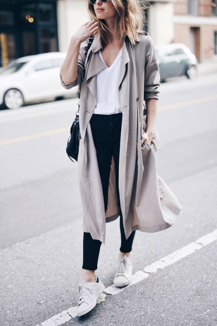 casual weekend street style with duster coat and Stan smiths