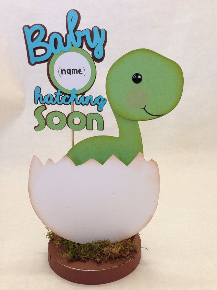 "Baby Dino Dinosaur Centerpiece Baby Shower  by DivaDecorations, $19.00 I like the saying ""Baby Jase hatching soon"""