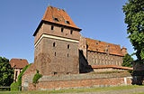Toilet tower at Malbork Castle in Poland.    A stream that ran under the tower swept the waste away.