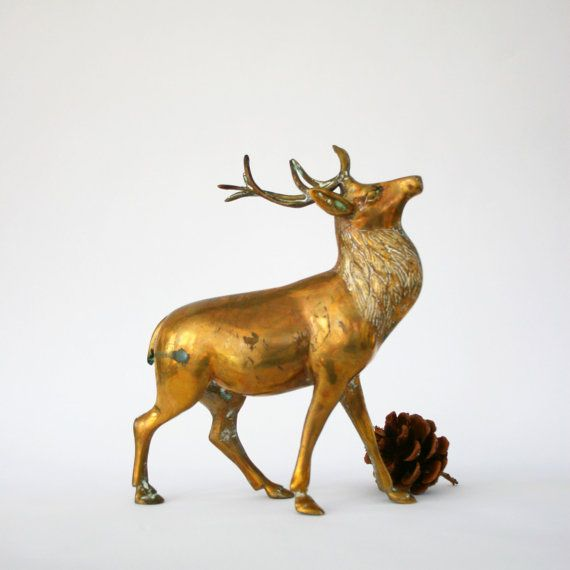 Vintage brass reindeer figurine large stag deer woodland - Home interior deer pictures for sale ...