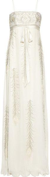 Embellished Silk Chiffon Gown -  MATTHEW WILLIAMSON ENGLAND seen on Jennifer Anniston