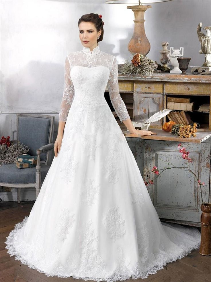 Exquisite Vestido De Noiva High Neck Three Quarter Lace Sleeve Gaun Pengantin Long Train 2015 Vintage Wedding Dress For Gilrs