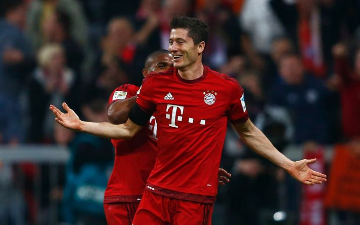 Download wallpapers Robert Lewandowski, soccer, Bayern Munich, Bundesliga, footballers