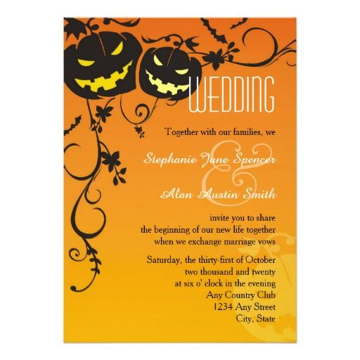 202 best halloween wedding invitations images on pinterest halloween pumpkins wedding invitation stopboris Images