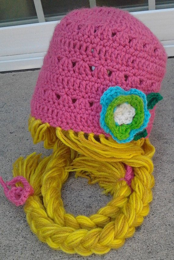 Pink Rapunzel Character Hat with Long Braids by Evermicha on Etsy