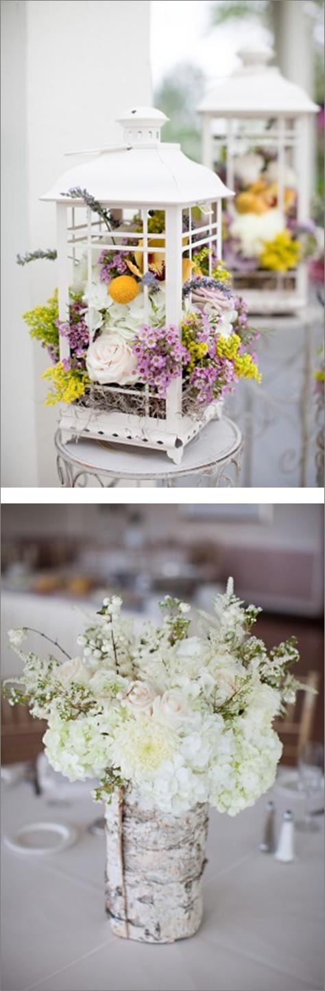 Floral Arrangements by Fleur de Di ~ Mix of blooms in white lanterns & white flowers in rolled birch sleeves / Elizabeth Anne Designs @ http://www.elizabethannedesigns.com/blog/2011/11/01/lavender-yellow-shabby-chic-wedding/