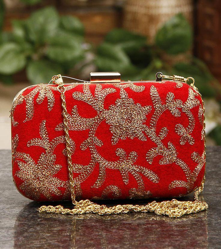 Red Velvet Clutch with Golden Thread Work. Indian fashion.