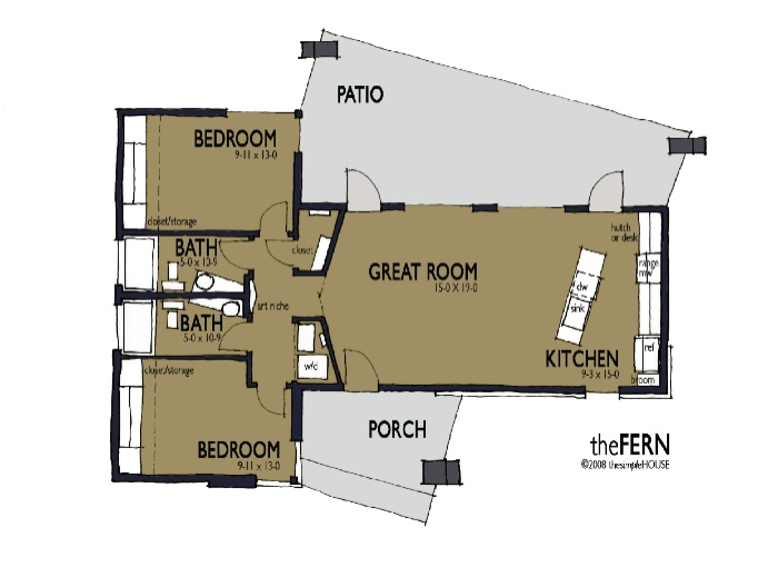 called fern 1 , 1024 sqft designer: thesimplehouse 2 bedroom