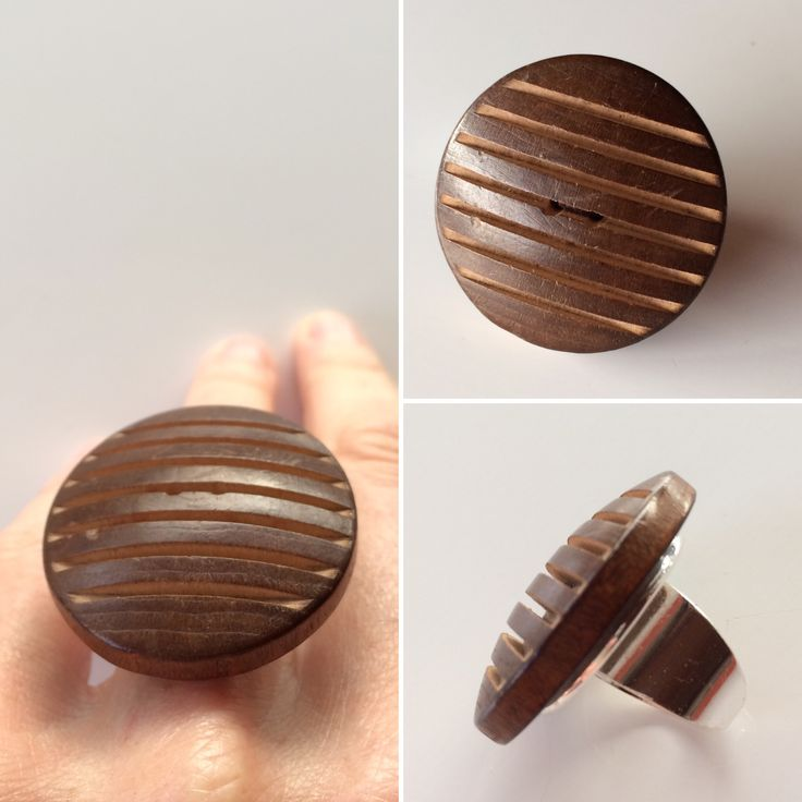 A big brown vintage button turned into a unique ring.  Repurposed. Ecofriendly. Genderless