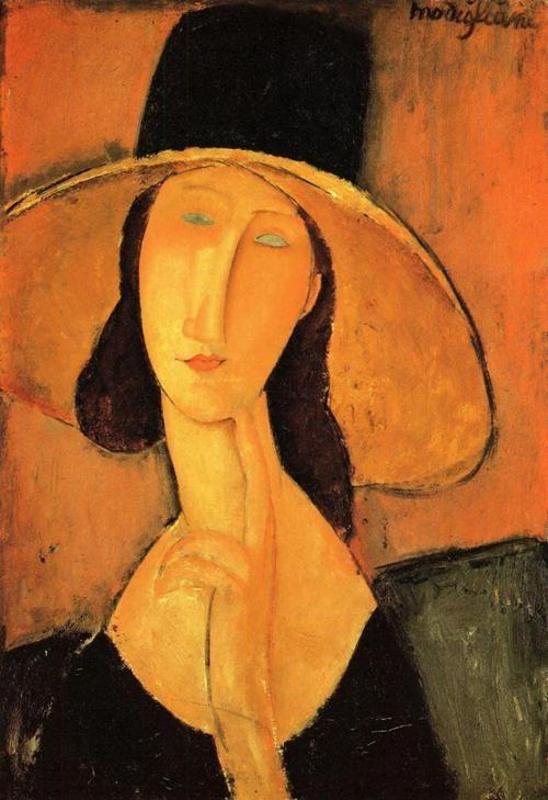 Amedeo Modigliani: Portrait of Jeanne Hebuterne with a Hat (1918)
