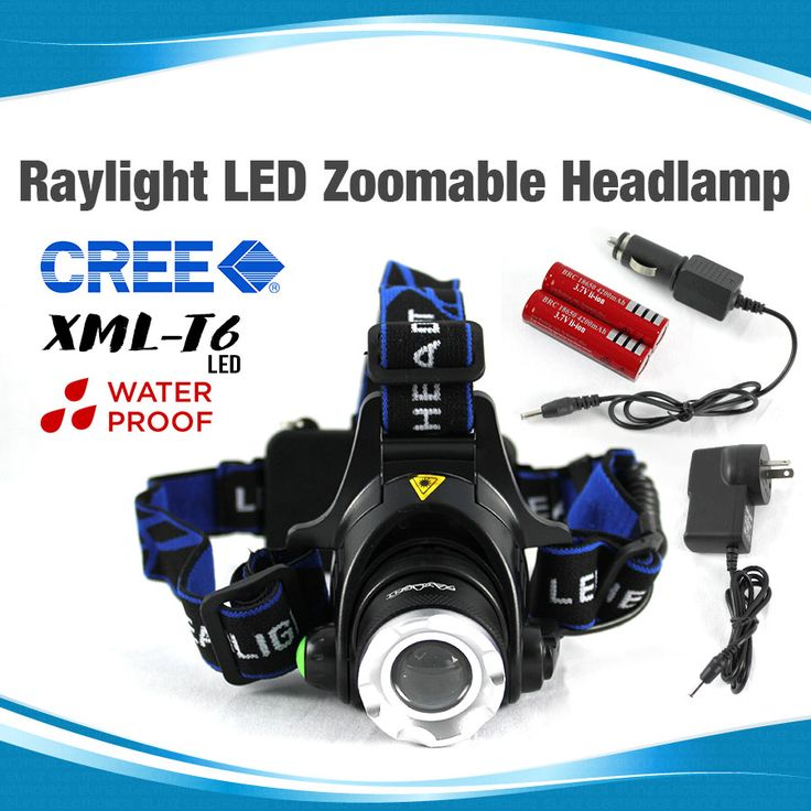 Headlamp Headlight LED Torch CREE XM-L T6 Zoomable Rechargeable 2X 18650 Batteries