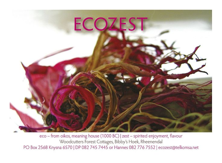 Ecozest is a floral design studio based in the Garden Route of South Africa. We create beautiful and thought provoking floral design for weddings, corporate events and other celebrations.   DP Ferreira and Hannes Stander are the creative energy behind Ecozest. We create unique expressions using natural materials and beautiful blooms to suite your wedding day. Many happy couples celebrate our work as well as House and Leisure magazine, Pasella and Top Billing. http://ecozest.co.za/