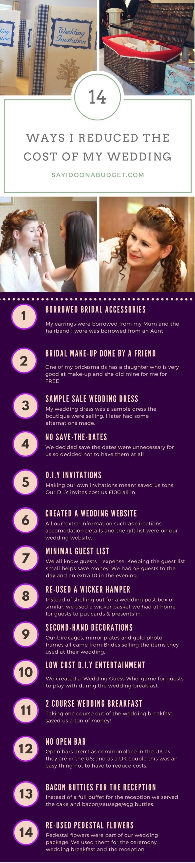 14 ways to reduce wedding cost of my wedding. How you can get married to less. Getting married on a small budget. Budget wedding.