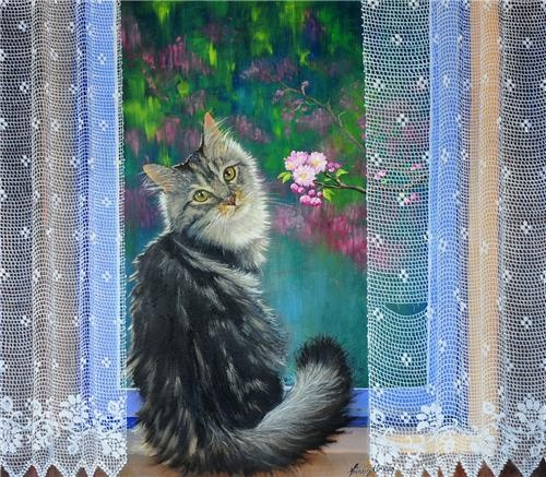 Füsun Ürkün. Me encantan sus cortinitas de tul transparente y sus gatitos!!!!