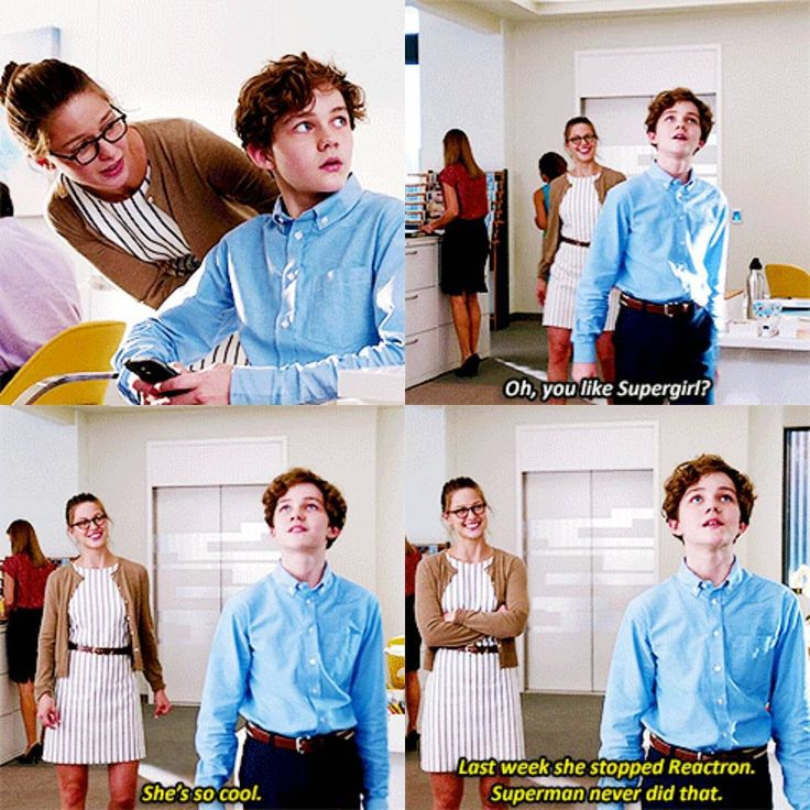"""Kara: """"Oh, you like Supergirl?"""" Carter: """"She's so cool. Last week she stopped Reactron. Superman never did that."""""""