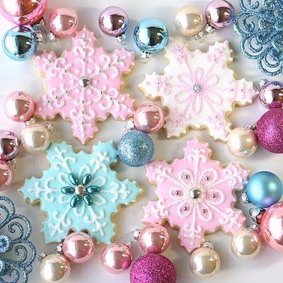 pastel: Christmas Baking, Pastel, Vintage Christmas, Sugar Cookies, Christmas Cookies, Snowflakes Cookies, Decor Cookies, Cookies Recipes, Christmas Treats