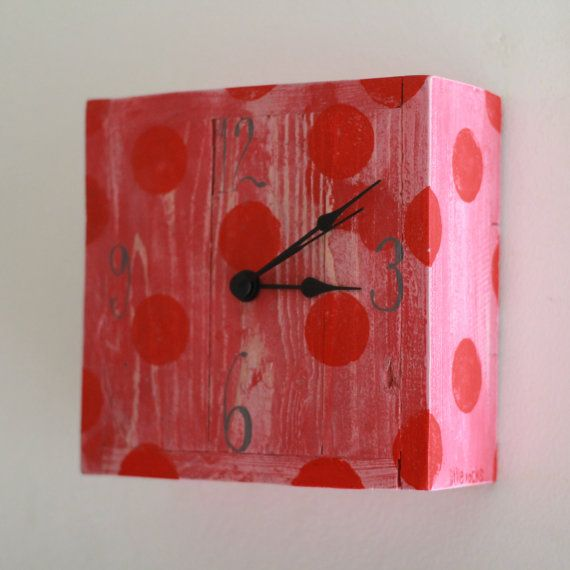 Red and pink polkadot wooden clock little rocks by littlerocksPK
