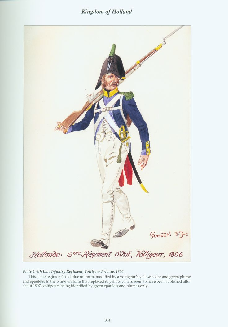 Kingdom of Holland: Plate 3. 6th Line Infantry Regiment, Voltigeur Private, 1806